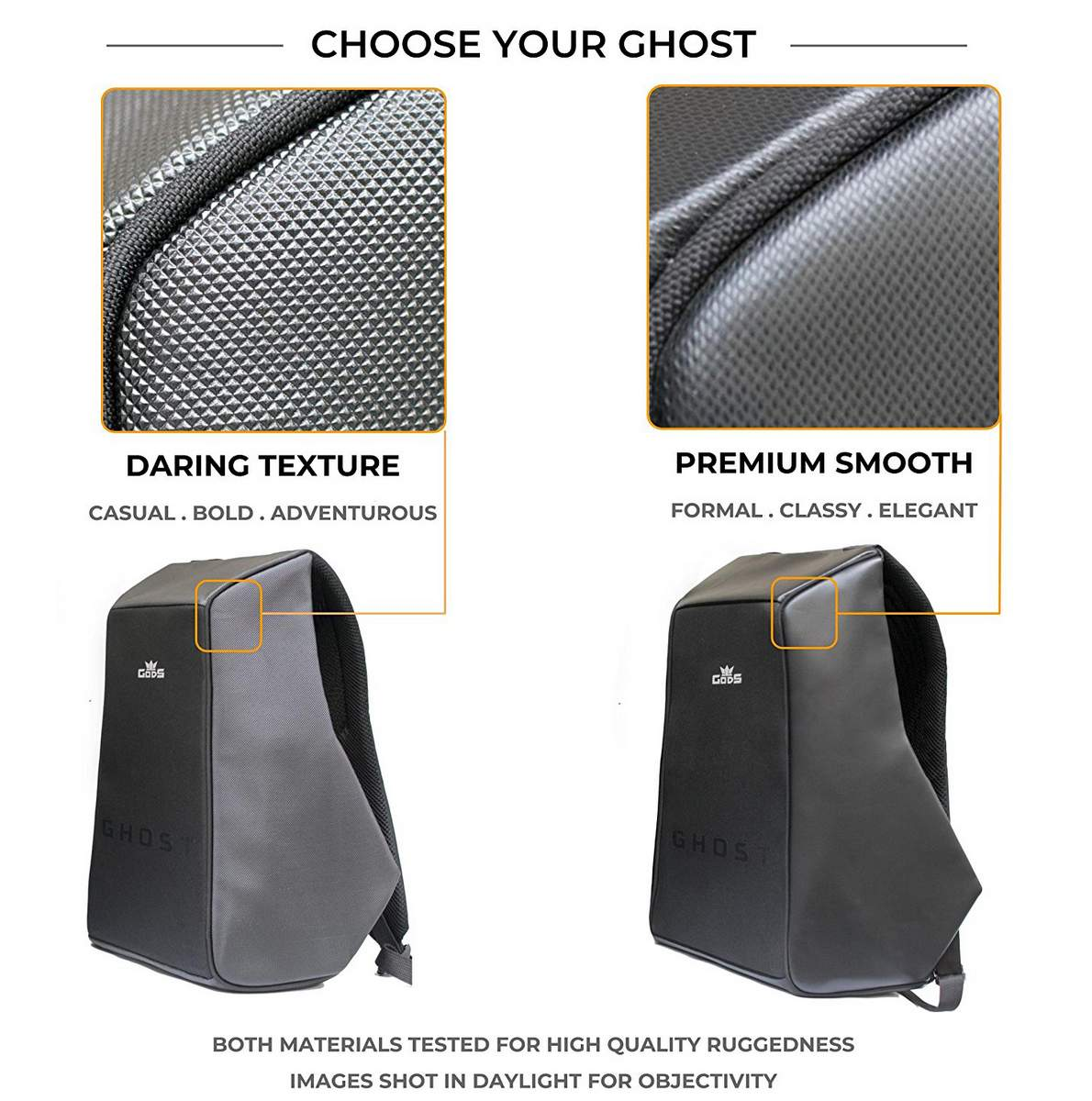 Road Gods The Ghost Premium Smooth Minimalist Anti Theft Laptop Backpack 8f1dbfc78674a